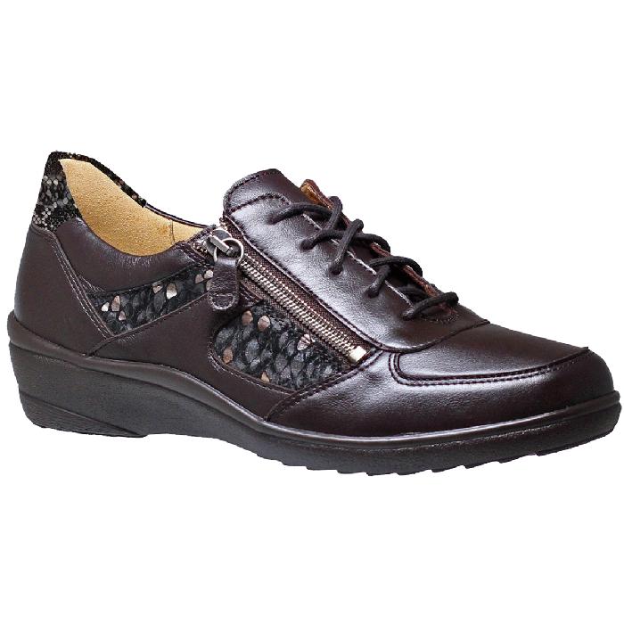 Bruine veter rits schoen, bijzonder lichtvoorzien van uitneembare voetbedden .